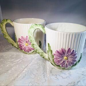 Fitz and Floyd Spring Flowers Mugs (pair)